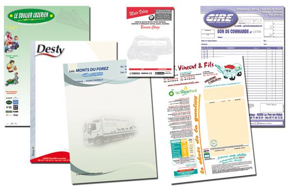 Tête de lettre, facture, carnet, liasse, bloc…