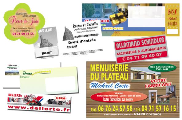 Étiquette, billetterie, adhésif, enveloppe…